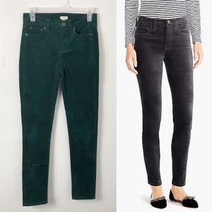 J. Crew Gorgeous Green Velvet Skinny Pants 24